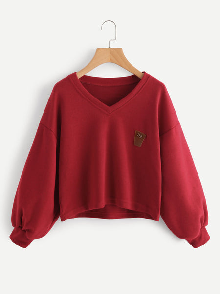 Burgundy Lantern Sleeve Patch With V Neckline Sweatshirt