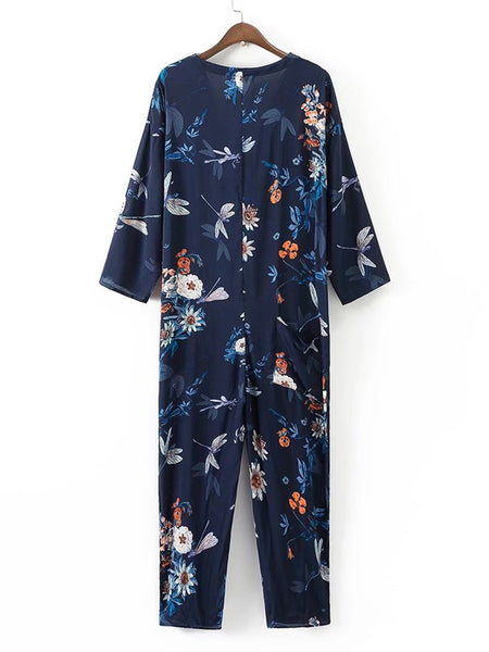 Blue Overall Floral Print  Button Up V-Neck Front Pocket 3/4 Sleeve Jumpsuit