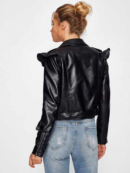 Black Belted Hem Frill Shoulder Moto Jacket