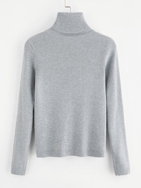 0ce0c59d89e Grey Turtle Neck Solid Ribbed Knit Roll Jumper – Lyfie