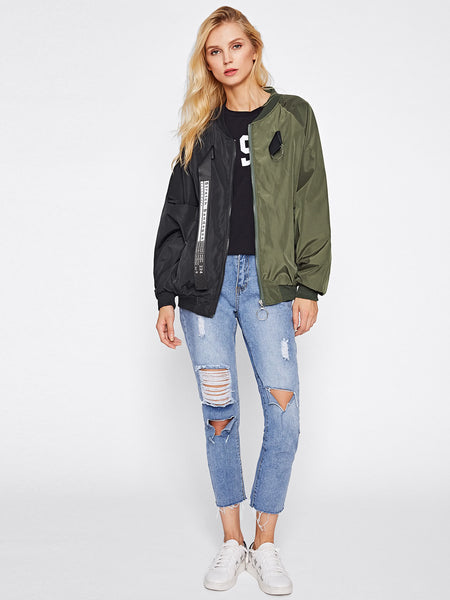 Black and Green Letter Print Ribbon Detail Bomber Jacket