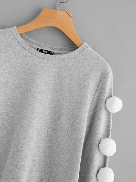 Grey Heather Knit Pom Pom Sleeve Sweatshirt