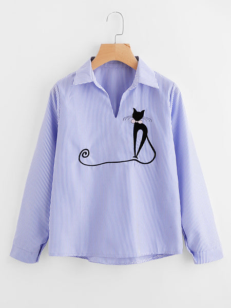 Blue Pinstripe Long Sleeve Cat Embroidered Shirt