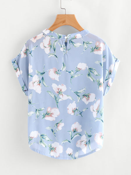 Blue Round Neck Floral Print Dolman Sleeve Cuffed Blouse