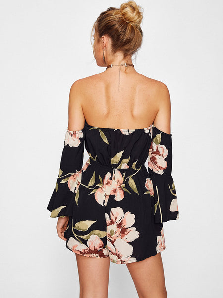 Black Overall Floral Print Off Shoulder Bardot Flute Long Sleeve Romper