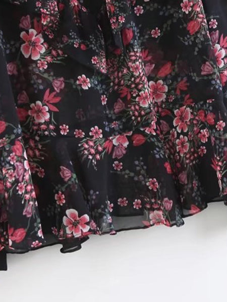 Black Floral Print Long Sleeve Tiered Frill Keyhole Back Blouse