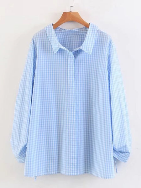 Blue Checkered Drawstring Long Sleeve Shirt