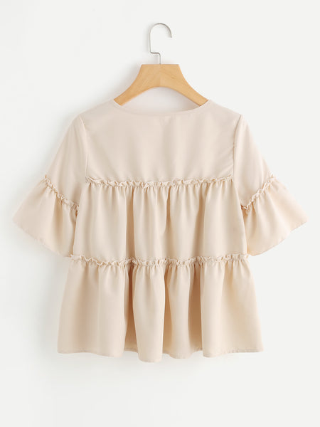 Apricot V-Cut Tiered Frill Blouse