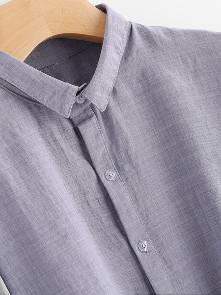 Blue Button Front Lantern Sleeve Shirt