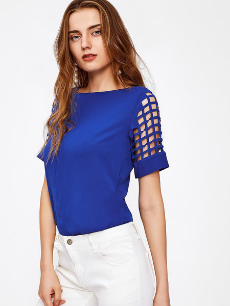 Blue Boat Neck Laser Cut Sleeve Top
