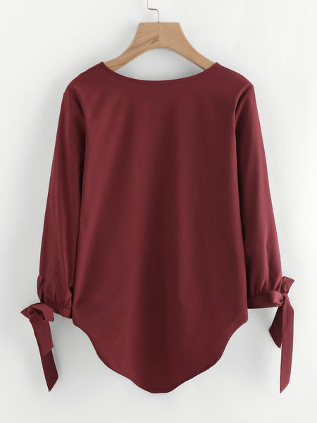 Burgundy V-Neck 3/4 Tie Cuff Hi Low Top
