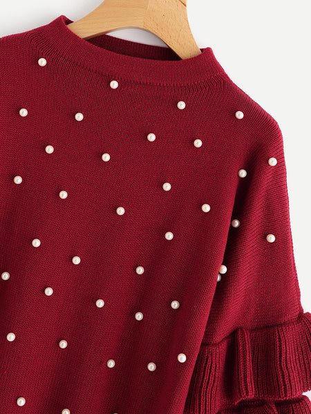 Burgundy Round Neck Tiered Ruffle Sleeve Pearl Beading Sweater