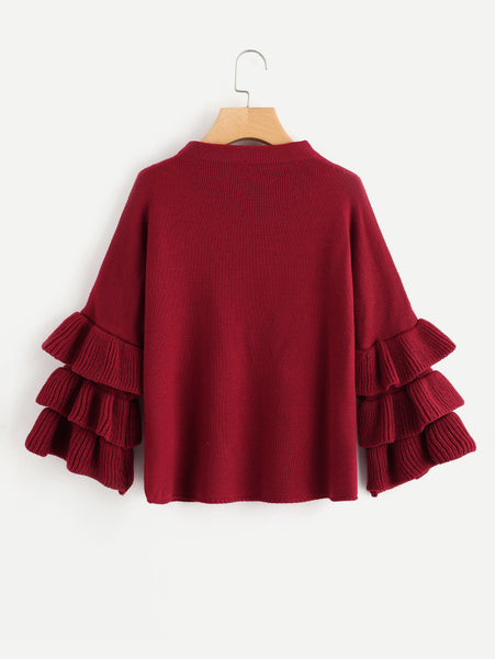 Burgundy Layered Sleeve Pearl Beading Jumper