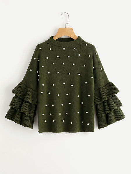 Green Round Neck Tiered Ruffle Sleeve Pearl Beading Sweater