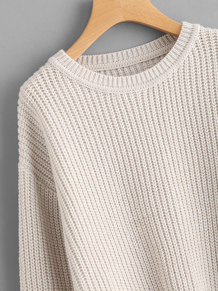 Apricot Scallop Hem Drop Shoulder Loose Sweater