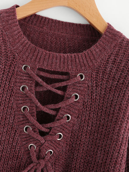 Burgundy Eyelet Lace Up High Low Sweater