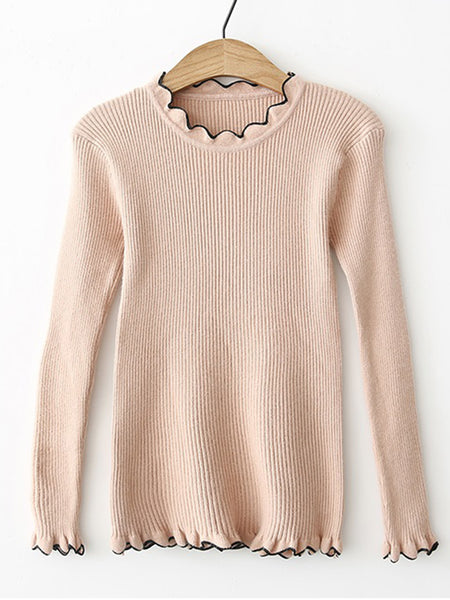 Apricot Contrast Wave Trim Ribbed Knit Sweater