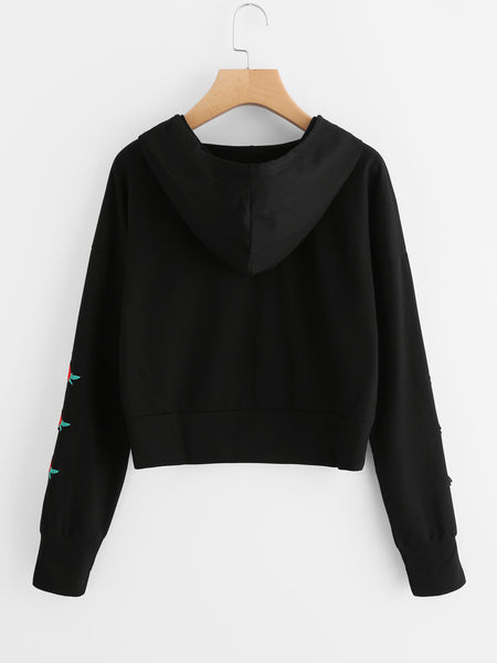 Black Embroidered And Printed Drop Shoulder Hoodie