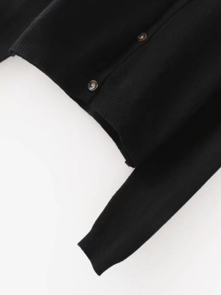 Black Flower Embroidered Front Button Cardigan