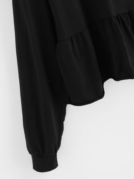 Black Frill Hem Batwing Drop Shoulder Sweatshirt
