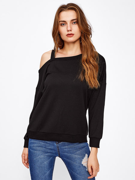 Black Asymmetric Sweatshirt With Cold Shoulder