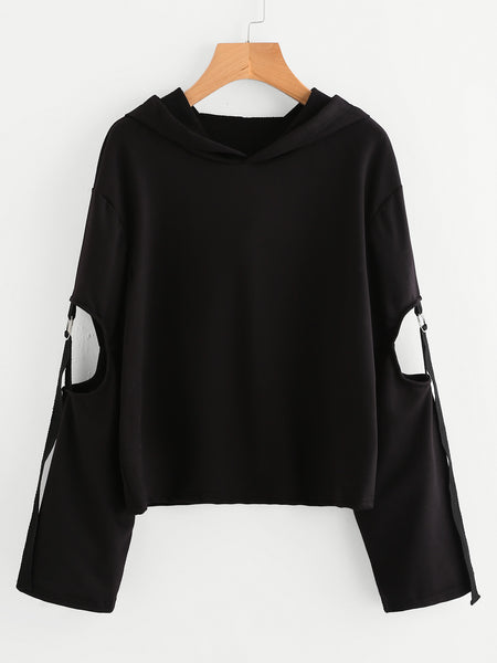 Black O-Ring Cut Out Sleeve Detail Hoodie