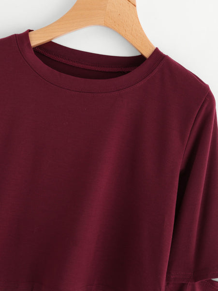 Burgundy Ribbed Trim Cut Out Sleeve Crop Sweatshirt