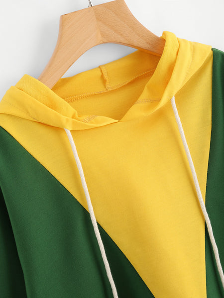 Green and Yellow Striped Sleeve Crop Hoodie