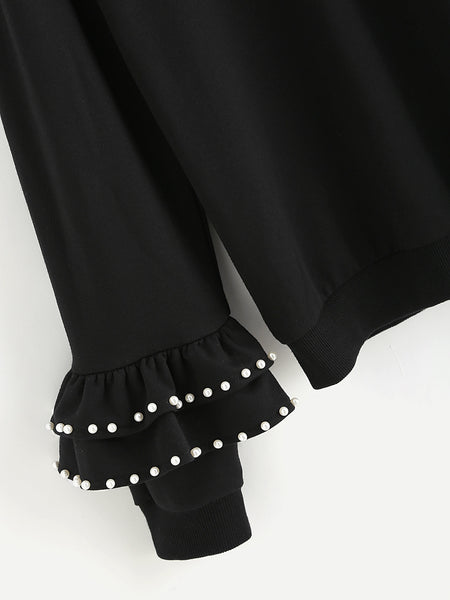 Black Tiered Cell Cuff With Pearl Beading Sweatshirt
