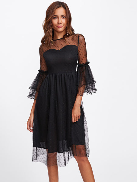 924fe919b181 Black Dot Mesh Overlay Round Neck Layered Bell Sleeve Midi Dress – Lyfie