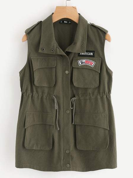 Green Multi Pocket Patch Detail Drawstring Anorak Vest