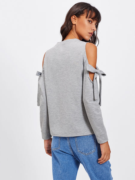 Grey Detail Marled Open Shoulder Tie Sweatshirt