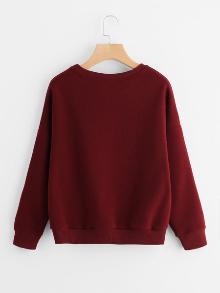 Burgundy Drop Shoulder Slogan Print Sweatshirt