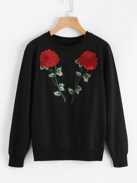 Black Appliques Embroidered Rose Sweatshirt