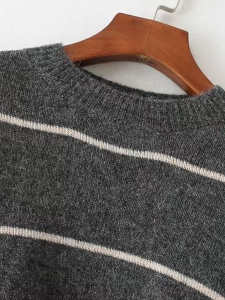 Grey Drop Shoulder Striped Ribbed Hem Sweater