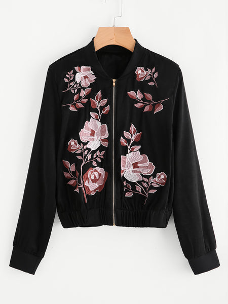 Black Satin Bomber Jacket Botanical Embroidered