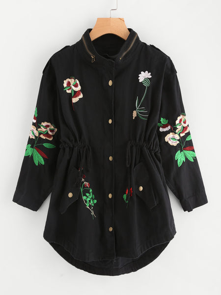 Black Botanical Embroidered Drawstring High Neck Zip Detail Jacket