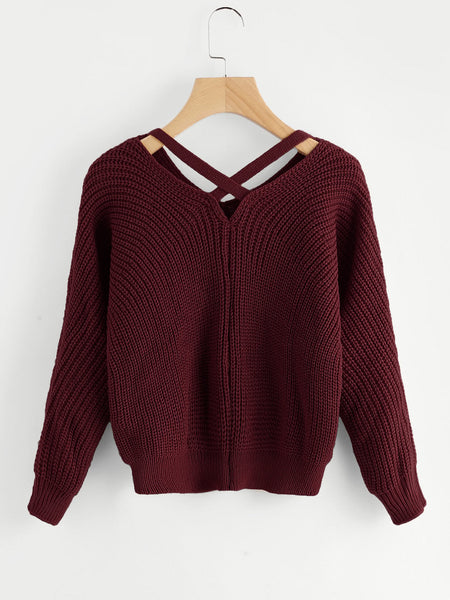 Burgundy V-Neck Criss Cross Back Chunky Knit Sweater