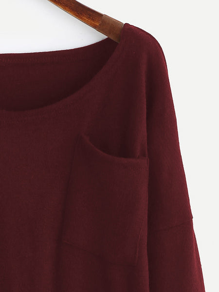 Burgundy Scoop Neck Drop Shoulder High Low Pullover