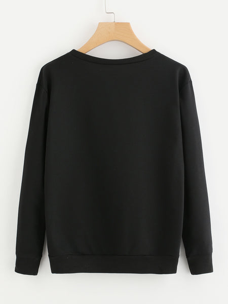 Black Slogan Print Round Neck Ribbed Trim Sweatshirt