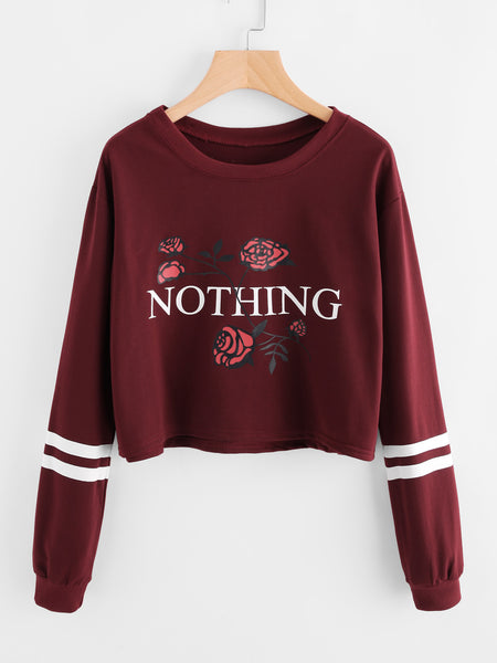 Burgundy Varsity Striped Floral and Text Print Sweatshirt