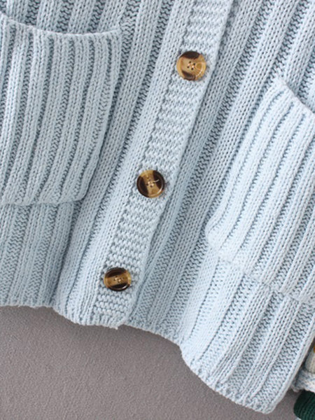 Blue Striped Cuff Ribbed Front Button Two Pocket Knit Cardigan