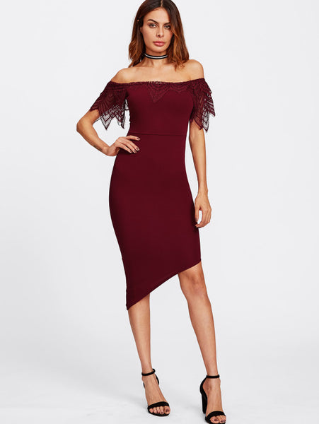 2033bfe5d84e Plain Burgundy Lace Frill Trim Chest Off Shoulder Short Sleeve Asymmetric  Bardot Midi Dress