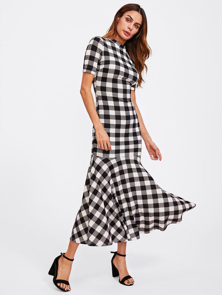 Black And White Overall Plaid High Neck Short Sleeve Trumpet Maxi Dress