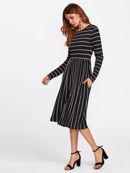 Black Allover Striped Round Neckline Long Sleeve Tee Midi Dress