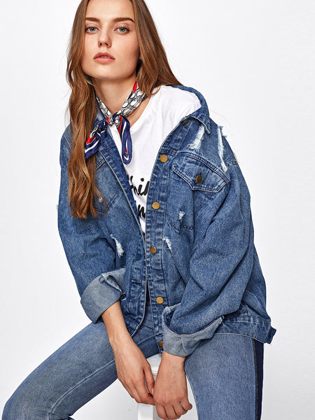 Blue Boyfriend Denim Mid Wash Rips Detail Jacket