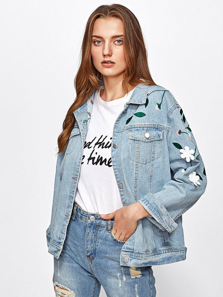 Blue Flower Applique Embroidered Light Wash Denim Jacket