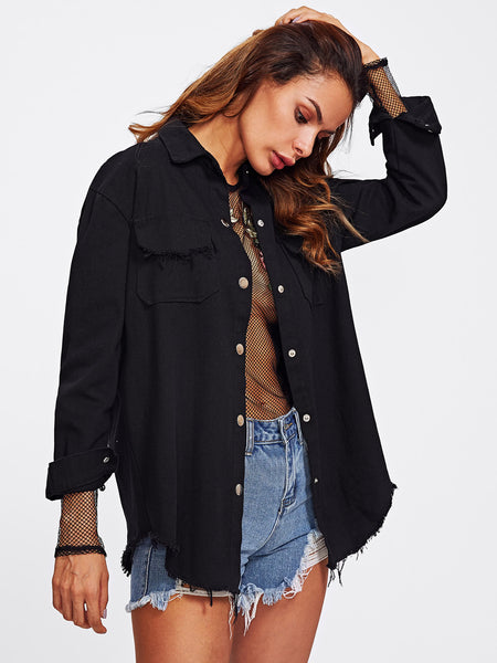 Black Frayed Curved Hem Front Button Denim Jacket