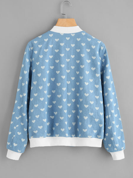 Blue Contrast Zip Up Trim Heart Print Jacket