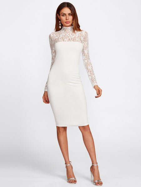 White Floral Lace Yoke And Sleeve High Neck Long Sleeve Form Fitting Midi  Dress d35eabd1f9f8